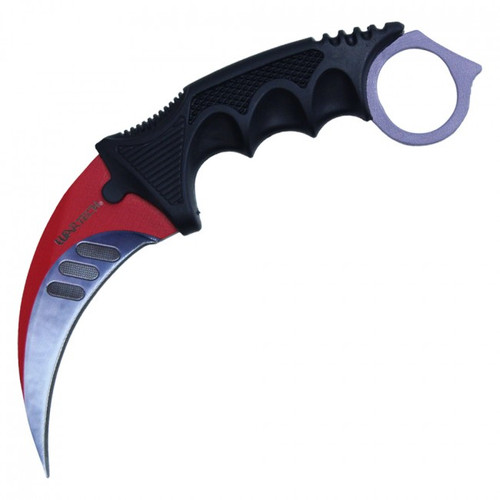"7.5"" Fixed Blade Red, and Black Neck Knife"
