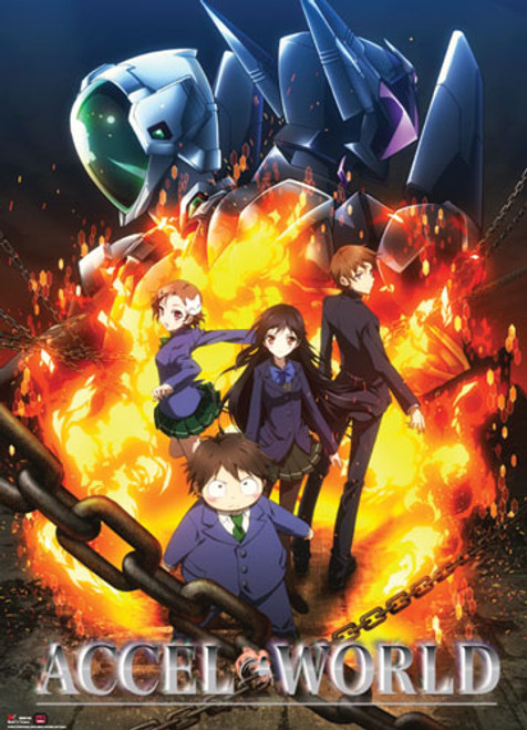 Accel World - Group With Silver Crow And Black Lotus In Background Key Art Wall Scroll