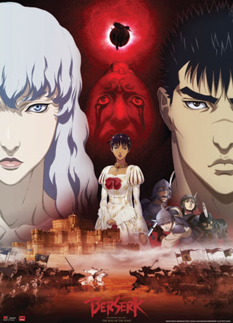 Berserk - Guts And Griffith By Charlotte With A Beherit In the Background Wall Scroll