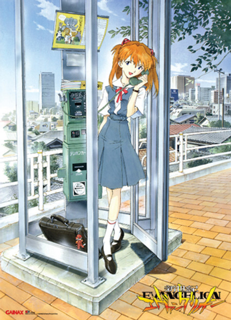 Evangelion - Asuka At A Phone Booth Wall Scroll