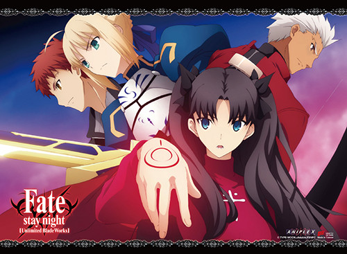 Fate Stay Night - Rin, Saber, Shirou, And Archer Wall Scroll