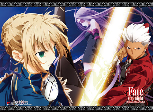 Fate Stay Night - Saber, Archer, And Rider Ready For Battle Wall Scroll
