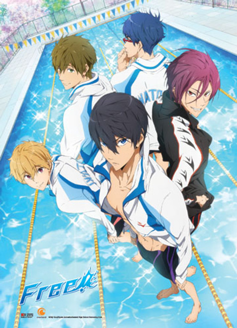 Free! - Main Characters Standing In Water Key Art Wall Scroll