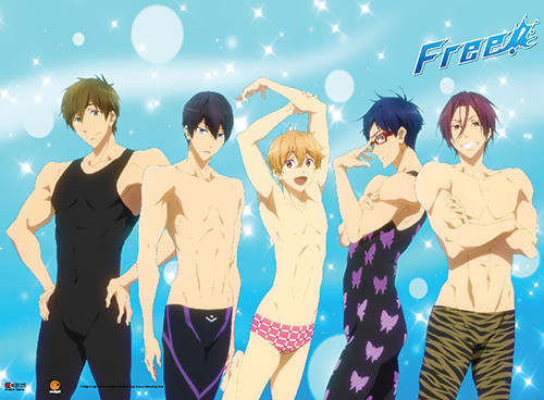 Free! - Main Characters In Different Swimsuits Wall Scroll