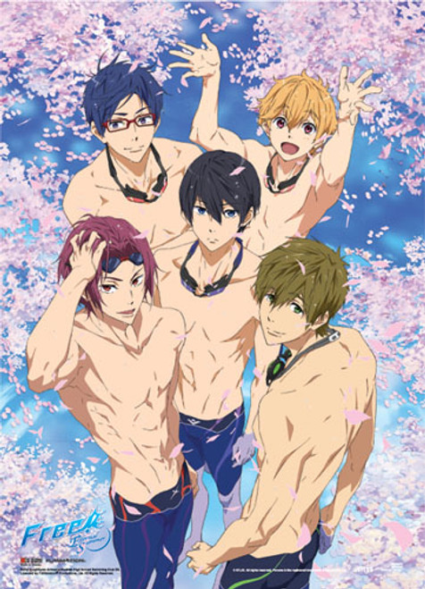 Free! 2 - Main Characters Surrounded By Sakura Flower Petals Special Edition Wall Scroll