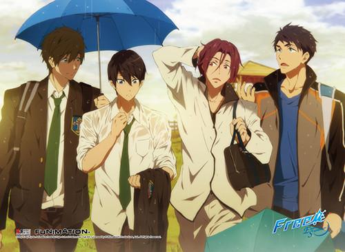Free! 2 - Main Characters Walking Home In The Rain Wall Scroll