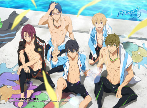 Free! 2 - Main Characters Sitting By The Pool Wall Scroll