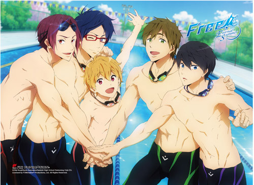 Free! - Main Characters Getting Motivated High End Wall Scroll