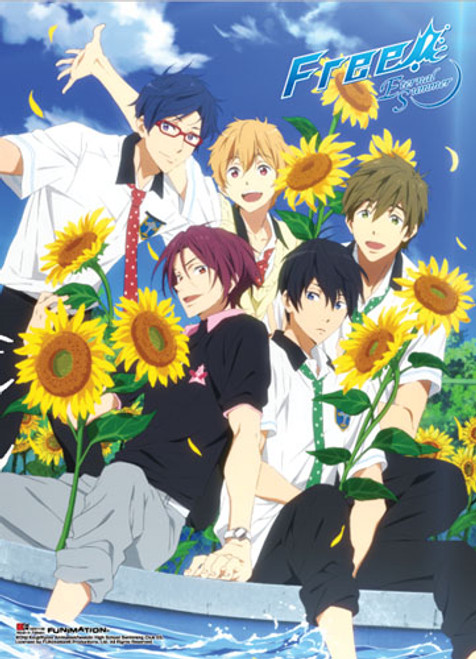 Free! 2 - Main Characters Surrounded By Sunflowers Wall Scroll