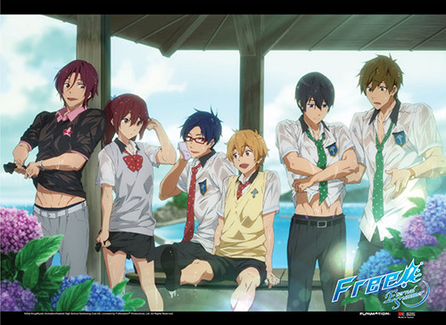Free! 2 - Main Characters Taking Shelter From The Rain Wall Scroll