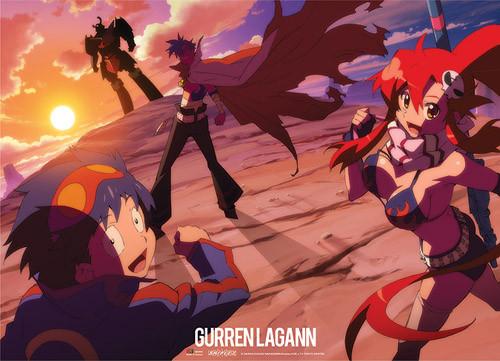 Gurren Lagann - Simon, Yoko, And Kamina Running To Gurren Lagann Wall Scroll