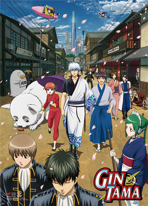 Gintama S3 - Gintoki, Shinpachi, Kagura, And Sadaharu Key Art High End Wall Scroll