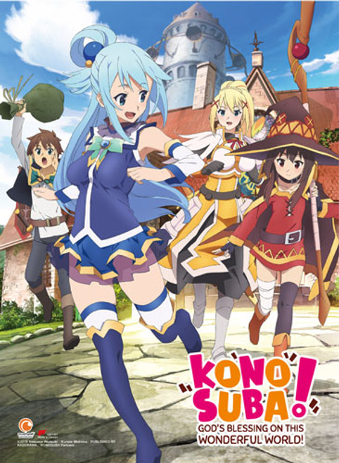 Konosuba Aqua, Megumin, Darkness, and Satou Running High End Wall Scroll