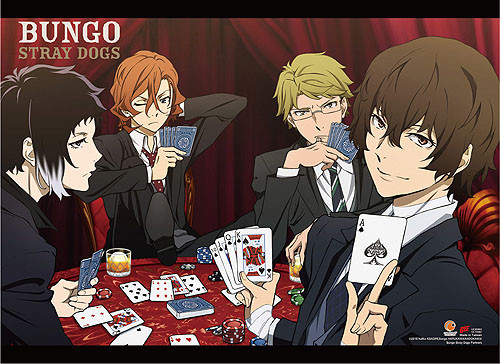 Bungo Stray Dogs - Group Playing Poker Wall Scroll