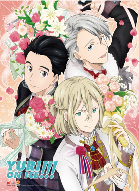 Yuri On Ice Yuri, Victor, and Yuri Dressed Up For A Competition Wall Scroll