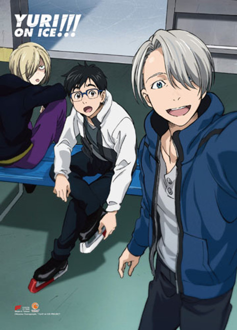 Yuri On Ice Yuri, Victor, and Yuri Getting Ready For A Competition Wall Scroll