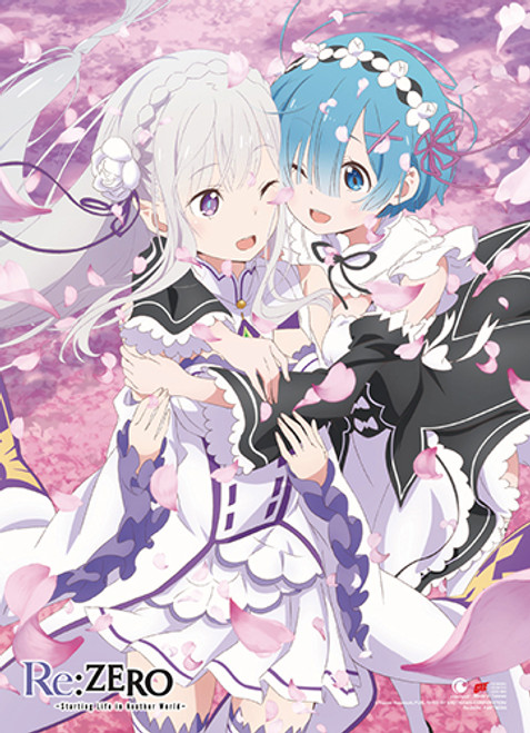 Re:Zero Emilia, and Rem With Sakura Blowing High End Wall Scroll
