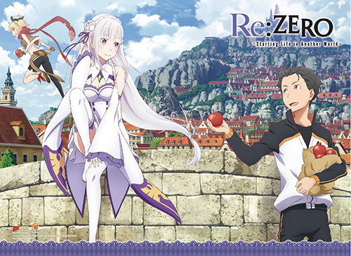Re:Zero Emilia, Subaru, and Felt Wall Scroll