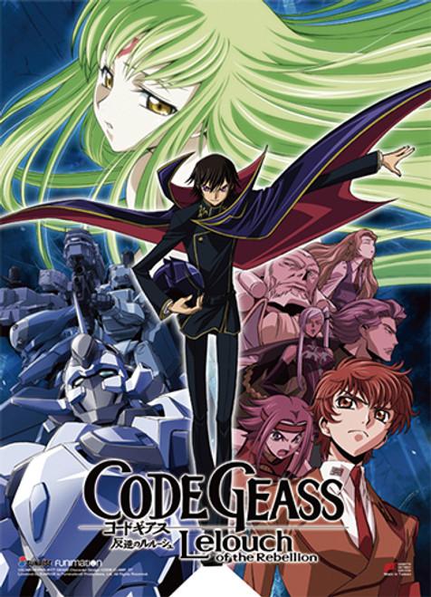 Code Geass - Lelouch, C.C., Suzaku, Kallen, Charles, And Nunnally Key Art Wall Scroll