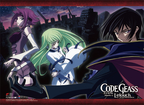 Code Geass - Kallen, Lelouch Dressed As Zero, And C.C. Wall Scroll