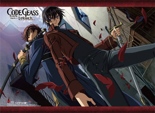 Code Geass - Suzaku And Lelouch With Swords Wall Scroll