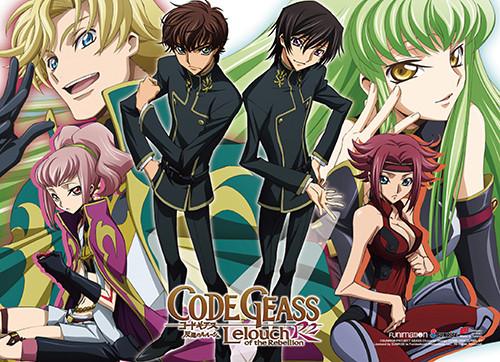 Code Geass S. 2 - Suzaku, Gino, Anya, Lelouch, Kallen, And C.C. Wall Scroll