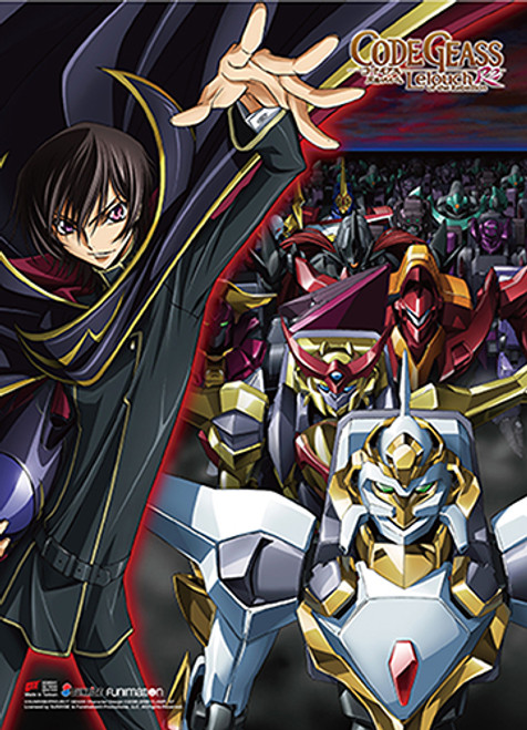 Code Geass Lelouch With Knightmare Frames In The Background Wall Scroll