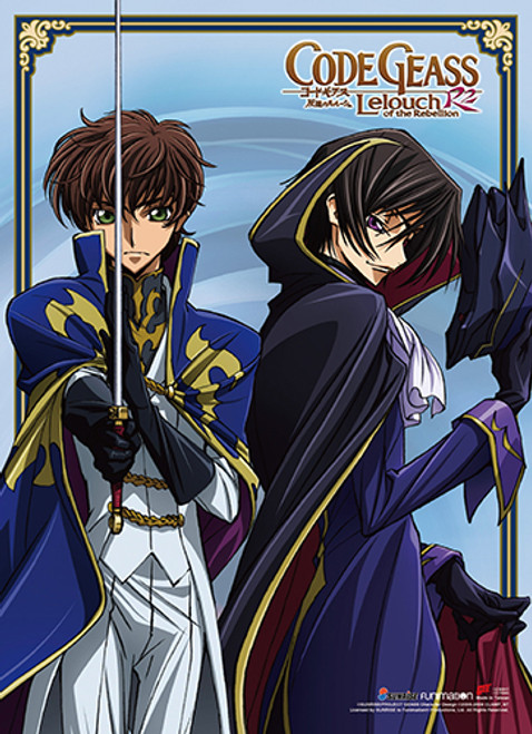 Code Geass S. 2 - Lelouch Dressed As Zero And Suzaku With His Sword Drawn Wall Scroll