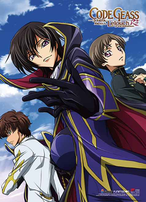 Code Geass S. 2 - Suzaku, Rolo, And Lelouch Dressed As Zero Wall Scroll