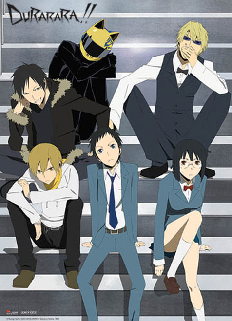 Durarara!! - Izaya, Masaomi, Mikado, Anri, Shizuo, And Celty Wall Scroll