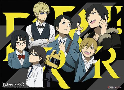 Durarara!! X2 - Anri, Celty, Izaya, Shizuo, Mikado, Masaomi, And Shinra Wall Scroll