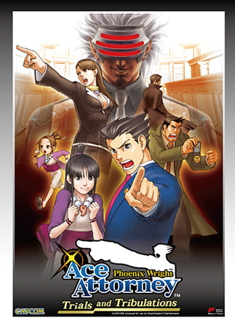 Ace Attorney - Phoenix, Maya, Godot, And Mia In The Court House Wall Scroll