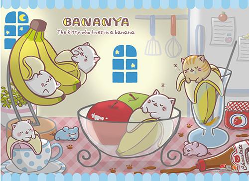 Bananya - Sleeping Kitties Wall Scroll