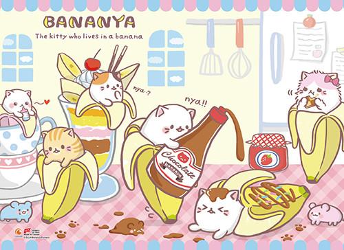 Bananya - Cats Playing With Food Wall Scroll