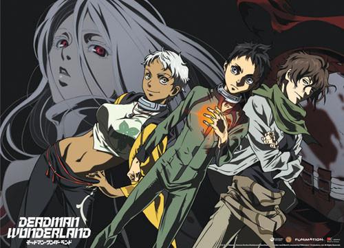 Deadman Wonderland - Ganta, Nagi, Karako, And Shiro In The Background Wall Scroll
