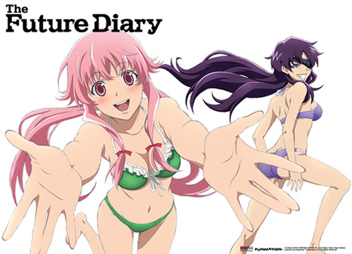 Future Diary - Minene And Yuno Wearing Swimsuits Wall Scroll