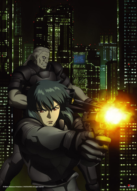 Ghost In The Shell - Motoko And Batou Firing Wall Scroll