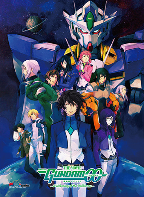 Gundam 00 - Setsuna, Tieria, Lyle, Feldt, And Allelujah Key Art High End Wall Scroll