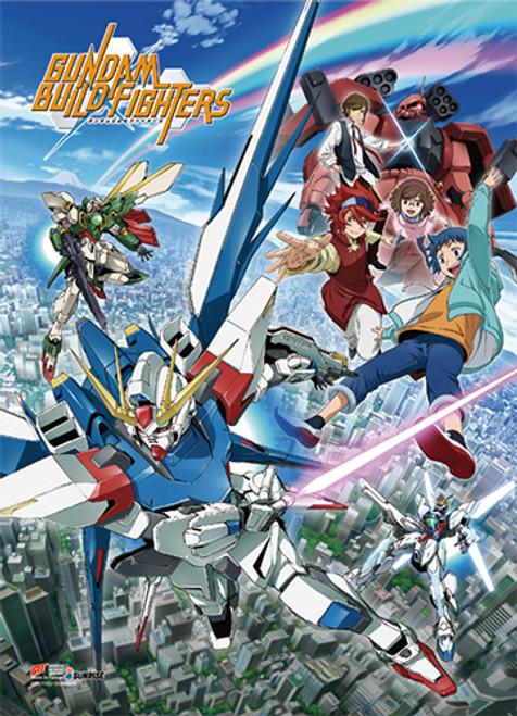 Gundam Build Fighters - Sei, Reiji, Strike Gundam, Zaku, China, And Tatsuya Key Art Wall Scroll