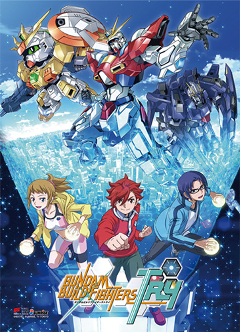 Gundam Build Fighters - Try The Try Fighters Key Art High End Wall Scroll