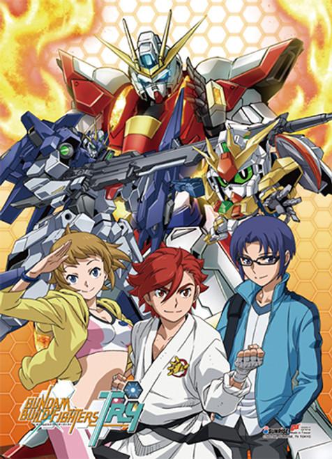 Gundam Build Fighters - Try Fumina, Sekai, Yuuma, Burning Gundam, Lighting Gundam, And Winning Gundam Wall Scroll
