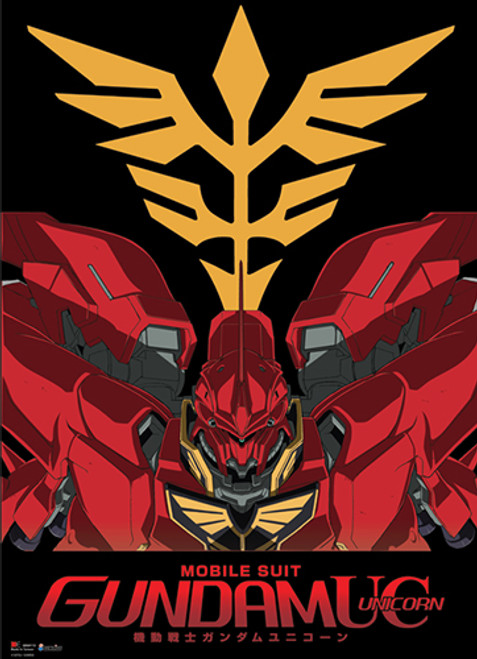 Gundam Unicorn - Sinanju With The New Zeon Symbol In The Background Wall Scroll