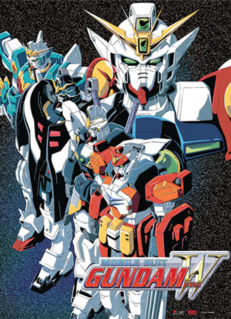 Gundam Wing - Wing Gundam, Deathscythe, Heavyarms, Sandrock, And Altron Wall Scroll