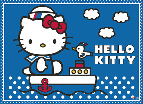 Hello Kitty On A Boat Wall Scroll