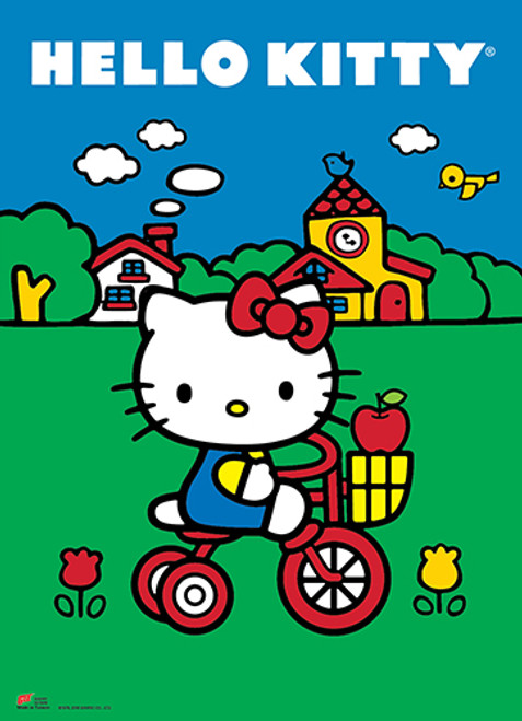 Hello Kitty On A Bicycle Wall Scroll