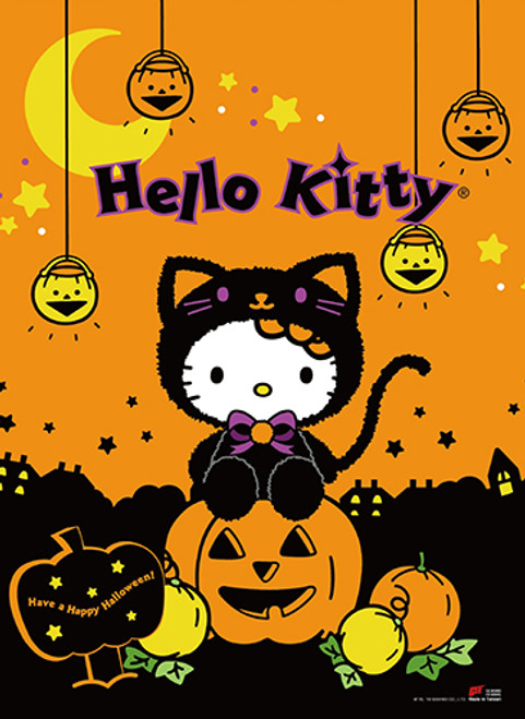 Hello Kitty In A Cat Costume For Halloween Wall Scroll