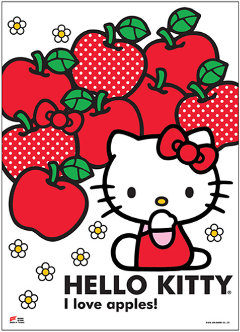 Hello Kitty With Lots Of Apples Wall Scroll