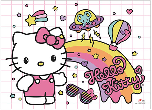 Hello Kitty With A Space Ship, and Rainbow Wall Scroll