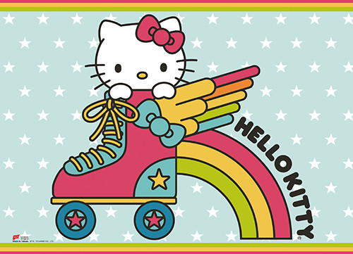 Hello Kitty In A Roller Skate Wall Scroll