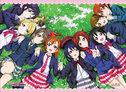 Love Live! Girls Laying Down In The Grass Wall Scroll